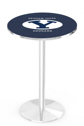 BYU Cougars Chrome Pub Table with Round Base