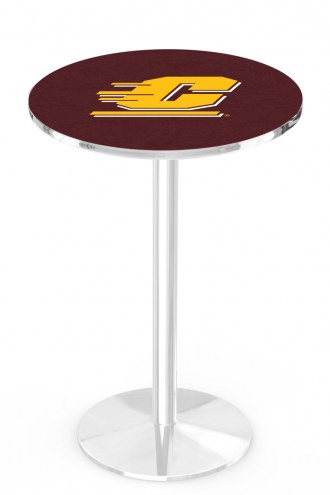 Central Michigan Chippewas Chrome Pub Table with Round Base
