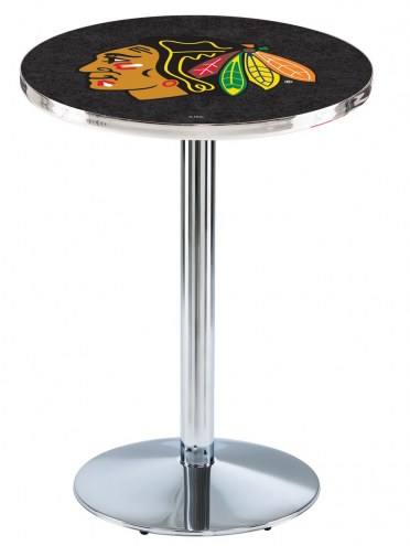 Chicago Blackhawks Chrome Pub Table with Round Base