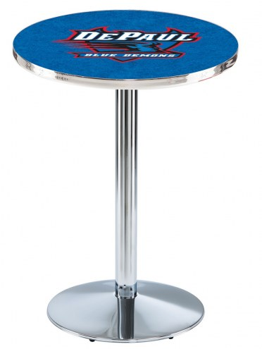DePaul Blue Demons Chrome Pub Table with Round Base