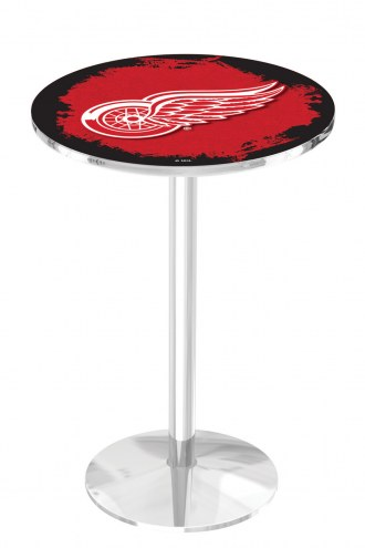 Detroit Red Wings Chrome Pub Table with Round Base