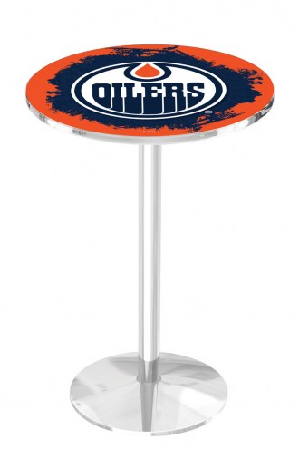 Edmonton Oilers Chrome Pub Table with Round Base