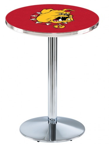 Ferris State Bulldogs Chrome Pub Table with Round Base