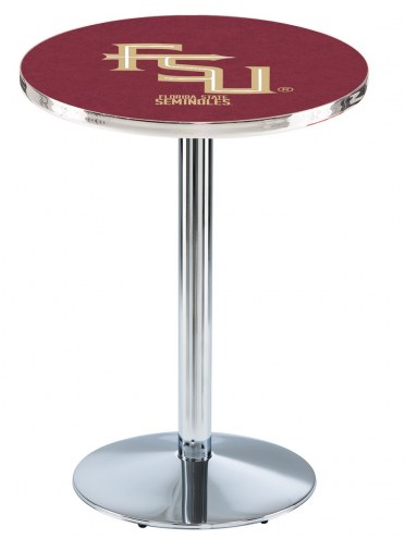 Florida State Seminoles Script Chrome Pub Table with Round Base