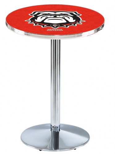 Georgia Bulldogs Chrome Pub Table with Round Base