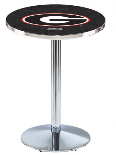 "Georgia Bulldogs ""G"" Chrome Pub Table with Round Base"