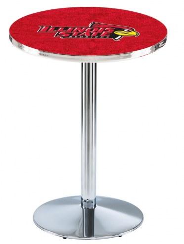 Illinois State Redbirds Chrome Pub Table with Round Base