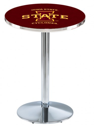 Iowa State Cyclones Chrome Pub Table with Round Base