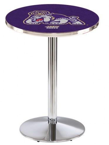 James Madison Dukes Chrome Pub Table with Round Base