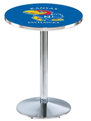 Kansas Jayhawks Chrome Pub Table with Round Base