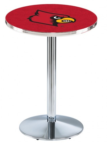Louisville Cardinals Chrome Pub Table with Round Base