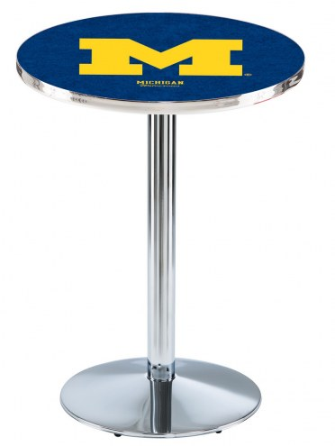 Michigan Wolverines Chrome Pub Table with Round Base