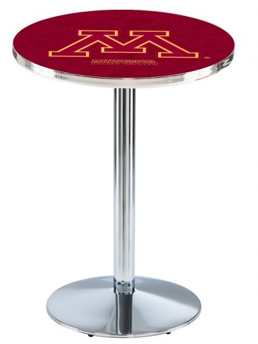 Minnesota Golden Gophers Chrome Pub Table with Round Base