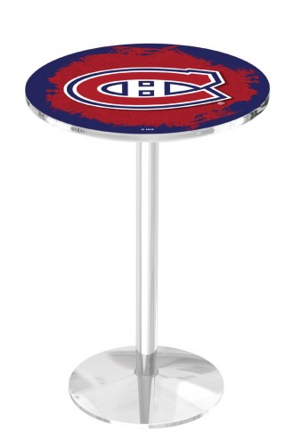 Montreal Canadiens Chrome Pub Table with Round Base
