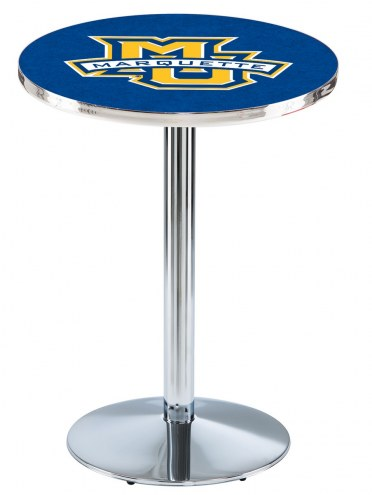 Marquette Golden Eagles Chrome Pub Table with Round Base