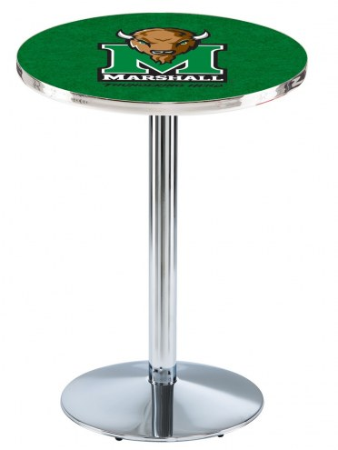 Marshall Thundering Herd Chrome Pub Table with Round Base