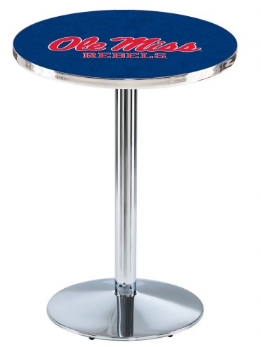 Mississippi Rebels Chrome Pub Table with Round Base