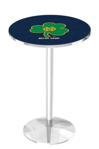Notre Dame Shamrock Chrome Pub Table with Round Base