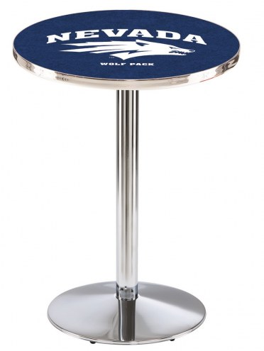 Nevada Wolf Pack Chrome Pub Table with Round Base