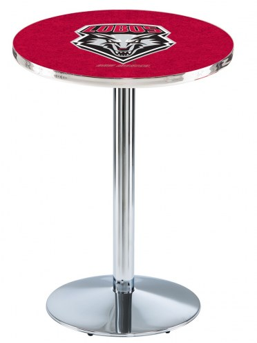 New Mexico Lobos Chrome Pub Table with Round Base