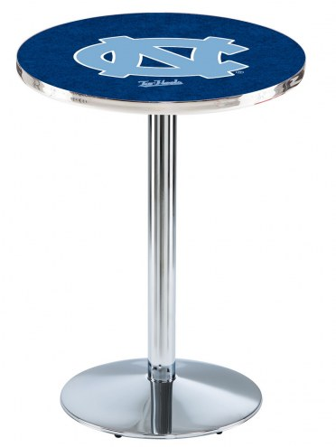 North Carolina Tar Heels Chrome Pub Table with Round Base