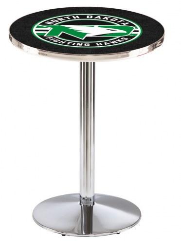 University of North Dakota Chrome Pub Table with Round Base
