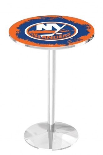 New York Islanders Chrome Pub Table with Round Base
