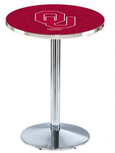 Oklahoma Sooners Chrome Pub Table with Round Base