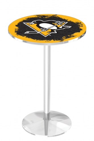 Pittsburgh Penguins Chrome Pub Table with Round Base