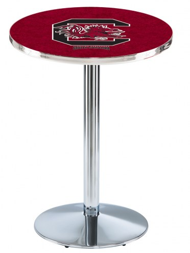 South Carolina Gamecocks Chrome Pub Table with Round Base