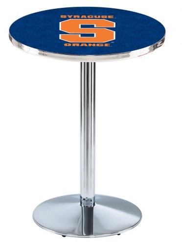 Syracuse Orange Chrome Pub Table with Round Base