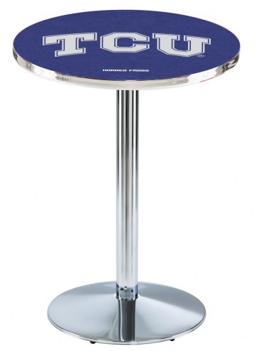Texas Christian Horned Frogs Chrome Pub Table with Round Base