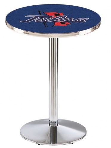 Tulsa Golden Hurricane Chrome Pub Table with Round Base