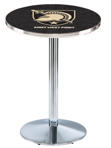 Army Black Knights Chrome Pub Table with Round Base