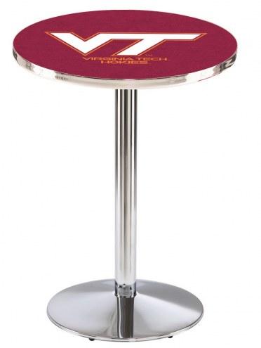 Virginia Tech Hokies Chrome Pub Table with Round Base