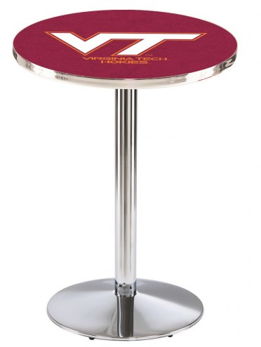 Virginia Tech Hokies Chrome Pub Table with Round Base