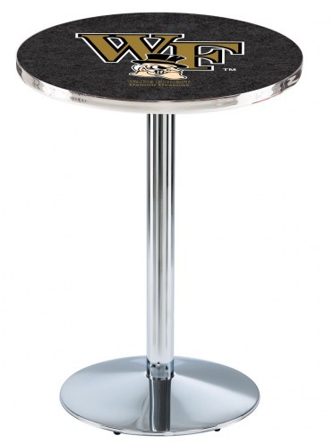 Wake Forest Demon Deacons Chrome Pub Table with Round Base