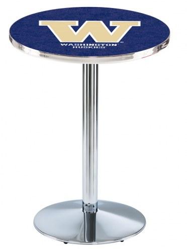 Washington Huskies Chrome Pub Table with Round Base