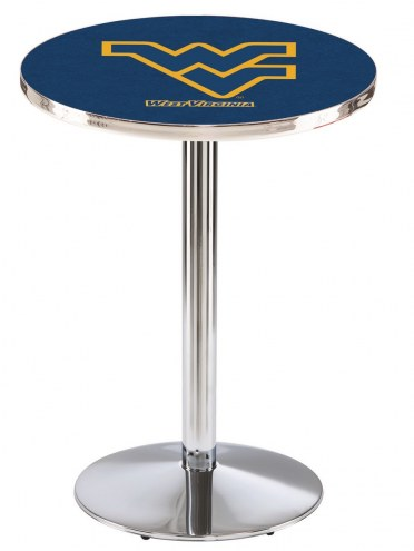 West Virginia Mountaineers Chrome Pub Table with Round Base
