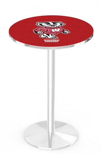Wisconsin Badgers Chrome Pub Table with Round Base