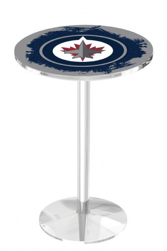 Winnipeg Jets Chrome Pub Table with Round Base