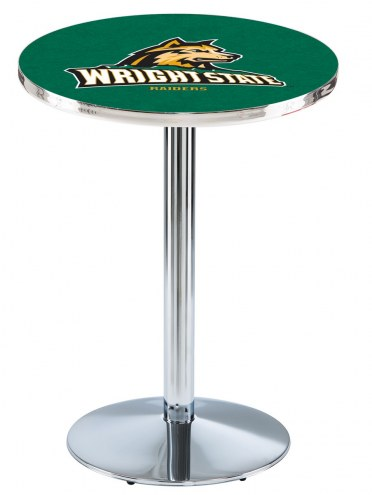 Wright State Raiders Chrome Pub Table with Round Base