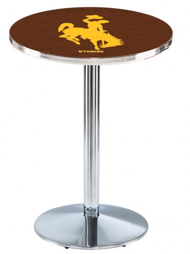 Wyoming Cowboys Chrome Pub Table with Round Base