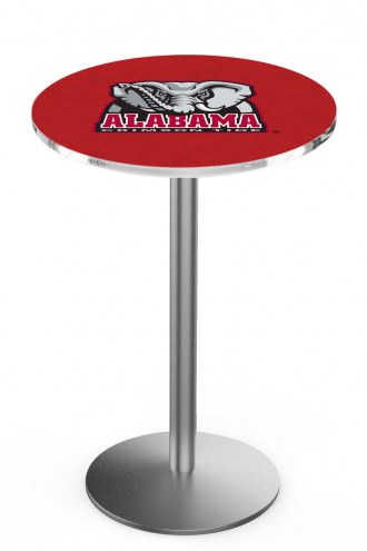 Alabama Crimson Tide Stainless Steel Bar Table with Round Base