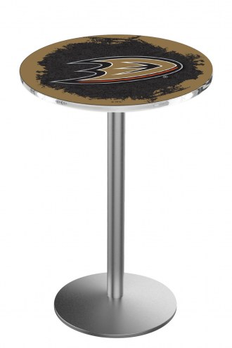 Anaheim Ducks Stainless Steel Bar Table with Round Base