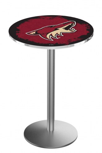 Arizona Coyotes Stainless Steel Bar Table with Round Base
