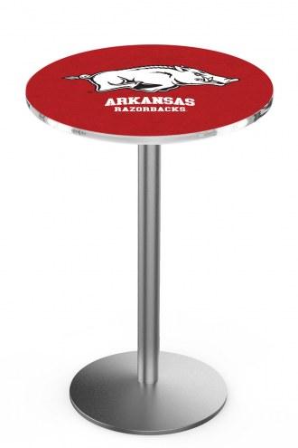 Arkansas Razorbacks Stainless Steel Bar Table with Round Base