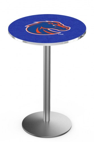 Boise State Broncos Stainless Steel Bar Table with Round Base