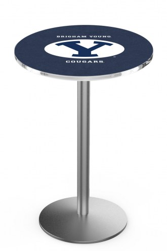 BYU Cougars Stainless Steel Bar Table with Round Base
