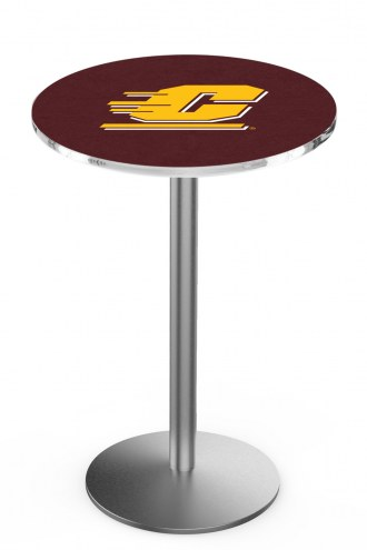 Central Michigan Chippewas Stainless Steel Bar Table with Round Base
